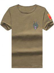 Wolf and Chinese Flag Embroidered Tee - ARMY GREEN 2XL