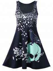 Skull Bird Print Mini Sleeveless Dress - BLACK