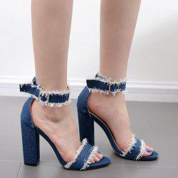 Ankle Strap Block Heel Denim Sandals