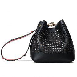 Hollow Out Bucket Bag with Beaded Strap
