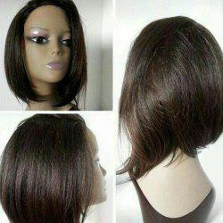 Short Side Bang Glossy Straight Bob Synthetic Wig
