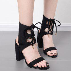 Chunky Heel Tie Up Slingback Sandals