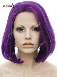 Adiors Short Side Swept Bang Straight Shaggy Bob Lace Front Synthetic Wig - PURPLE