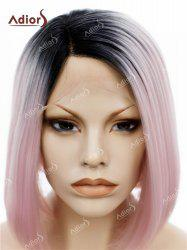 Adiors Short Colormix Side Part Straight Bob Lace Front Synthetic Wig - PINK