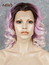 Adiors Medium Colormix Side Swept Bang Curly Lace Front Synthetic Wig - GRADUAL PINK