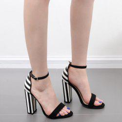 Ankle Strap Striped Pattern Sandals - BLACK WHITE