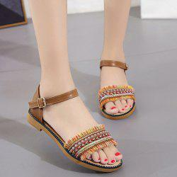 Bohemian Beaded Fringed Flat Sandals - TAN