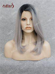 Adiors Medium Side Bang Straight Bob Colormix Lace Front Synthetic Wig - BLACK AND GREY
