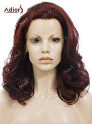 Adiors Long Shaggy Side Swept Bang Curly Lace Front Synthetic Wig - RED BROWN