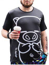 Cartoon Pig Printed Tee - BLACK