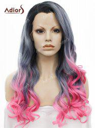 Adios Long Free Part Shaggy Curly Colormix Lace Front Synthetic Wig - BLACK+GRADUAL GREY