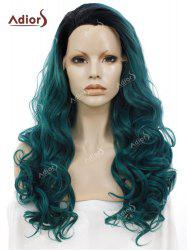 Adios Long Free Part Shaggy Curly Colormix Lace Front Synthetic Wig - BLACKISH GREEN