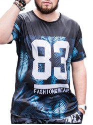 Short Sleeve 83 Print Leaves Tee