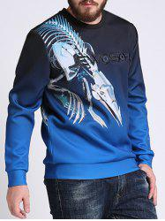 Mechanical Dragon Printed Ombre Color Plus Size Sweatshirt