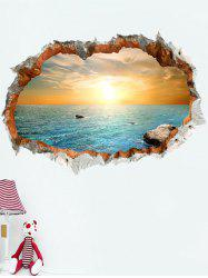 3D Broken Bricks Seaside Sunset Vinyl Wall Sticker - COLORFUL