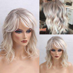 Medium Inclined Bang Colormix Shaggy Natural Wavy Human Hair Wig