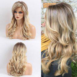 Long Side Bang Colormix Gradient Wavy Human Hair Wig - COLORMIX