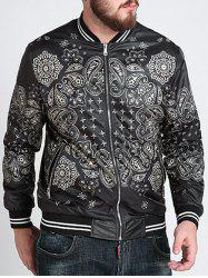 Zipper Fly Ethnic Graphic Pattern Jacket - BLACK