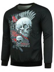 Splashing Paint Skulls Printed Pullover Sweatshirt