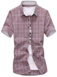 Short Sleeves Button Down Grid Shirt