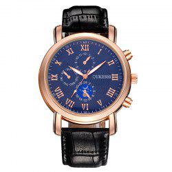 OUKESHI Roman Numeral Faux Leather Strap Analog Watch - BLUE/BLACK