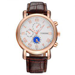 OUKESHI Roman Numeral Faux Leather Strap Analog Watch - BROWN