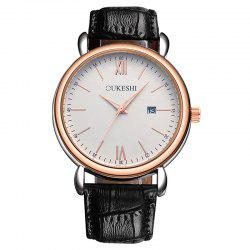 OUKESHI Faux Leather Strap Date Minimalist Watch - BLACK