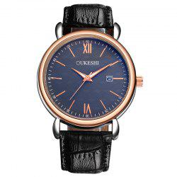 OUKESHI Faux Leather Strap Date Minimalist Watch - Bleu et Noir