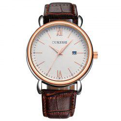 OUKESHI Faux Leather Strap Date Minimalist Watch - BROWN