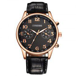 OUKESHI Tachymeter Number Faux Leather Strap Watch - BLACK