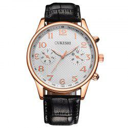 OUKESHI Tachymeter Number Faux Leather Strap Watch -
