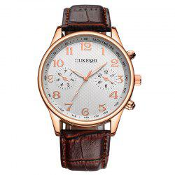 OUKESHI Tachymeter Number Faux Leather Strap Watch - BROWN