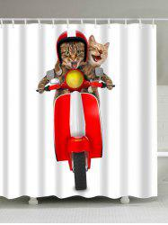 Extra Long 3D Cats Riding Motorcycle Shower Curtain
