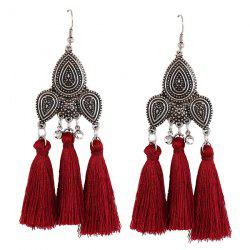 Rhinestone Tassel Teardrop Gypsy Earrings - RED