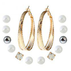 Faux Pearl Circle Stud Hoop Earring Set