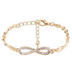 Rhinestone 8 Infinite Chain Bracelet - Golden