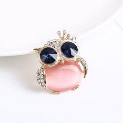 Cute Faux Opal Rhinestone Owl Brooch - GOLDEN