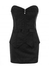 Zip Up Plus Size Striped Corset with Skirt - BLACK