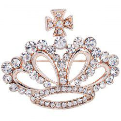 Rhinestone Inlaid Hollow Out Crown Brooch - WHITE