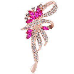 Flower Shape Faux Crystal Rhinestone Inlay Brooch