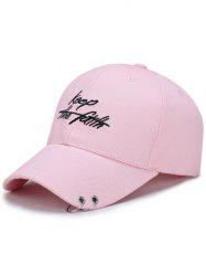 Letters Embroidery Double Metal Circle Baseball Cap