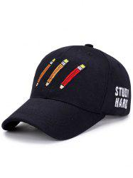 Pencil Letters Embroidered Baseball Cap -