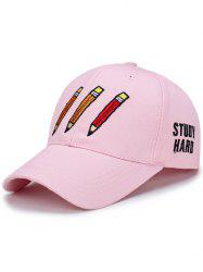 Pencil Letters Embroidered Baseball Cap - SHALLOW PINK