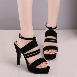 Strappy Super High Heel Platform Sandals - BLACK