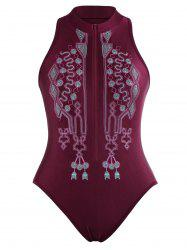 Embroidered Zipper Fly Plus Size Swimsuit