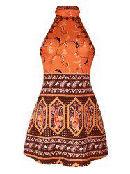 Backless Halter Tribal Print Dress