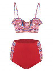 Plus Size High Waisted Print Bikini Set