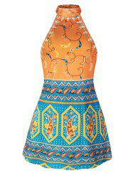 Tribal Print Halter Backless Dress - Multicolore