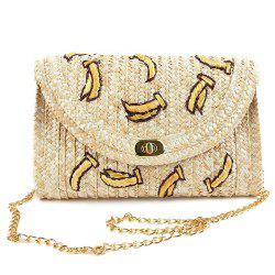 Fruit Embroidery Straw Crossbody Bag