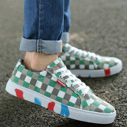 Color Block Tie Up Canvas Shoes - GREEN